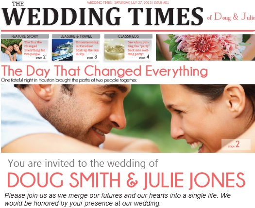 How to Choose a Template for Your Wedding Newspaper